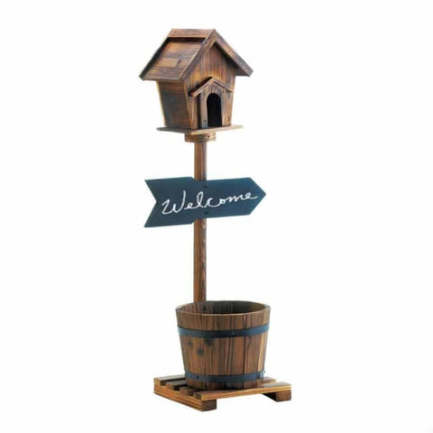 Welcome Birdhouse Rustic Barrel Planter Birdhouse