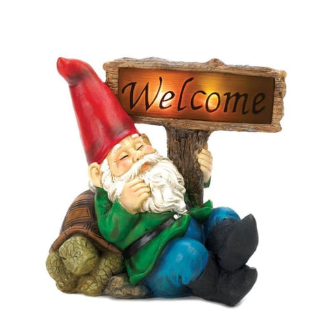 Welcome Gnome Solar Statue Solar Lighting