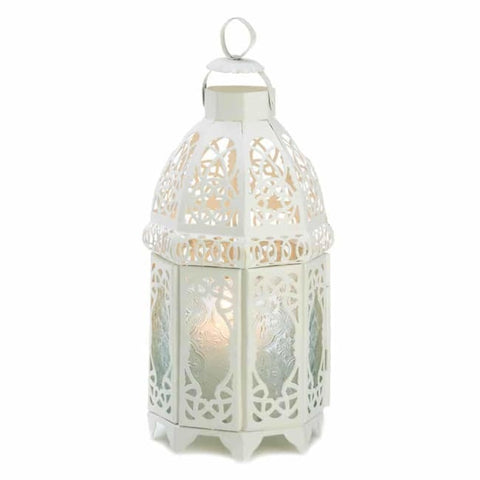 White Lattice Lantern Candle Lantern