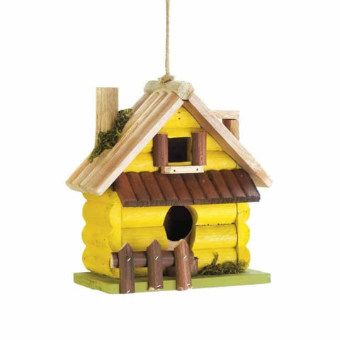 Yellow Log Home Birdhouse Birdhouse