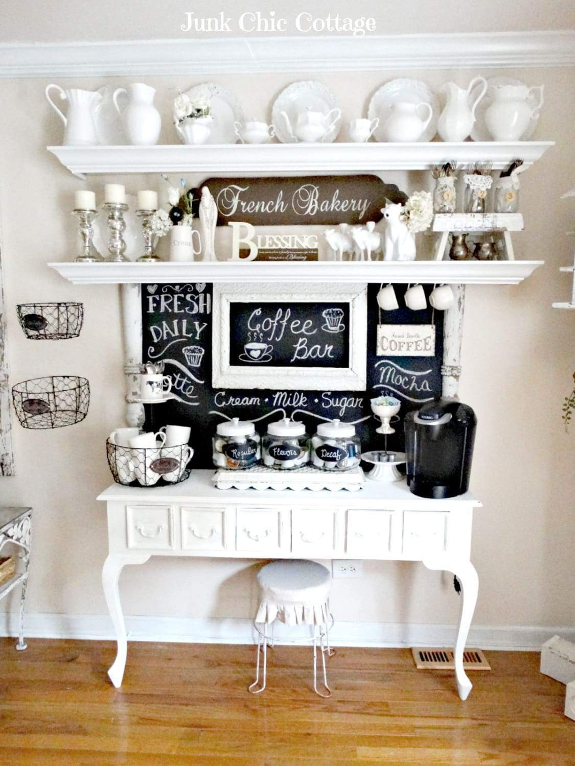 Want to recreate this beautiful French country coffee bar? Check out the DIY instructions here
