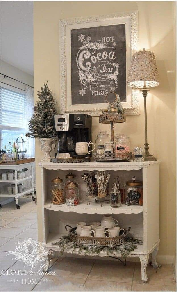 Great DIY coffee station that works well with hot cocoa or tea. Perfect for any area of your home.
