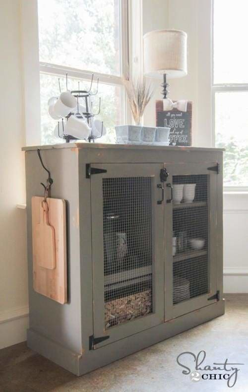 Check out this DIY coffee cabinet project complete with instructions and wood patterns