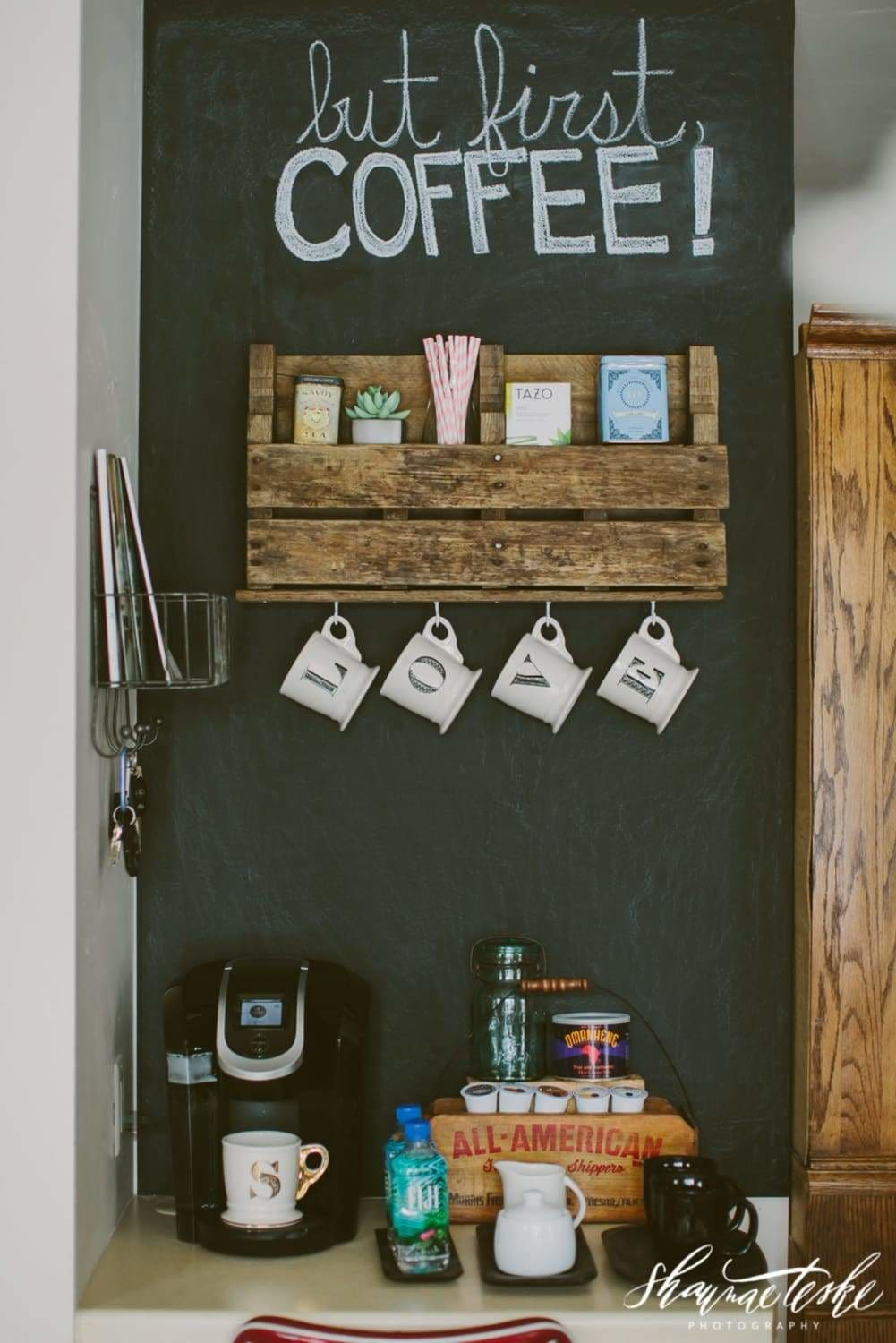 Check out this fun coffee station and learn how you could build one of your own.