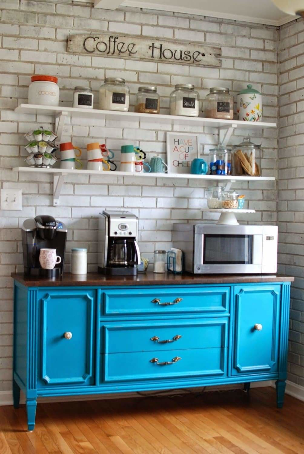 Learn how to create this beautiful blue coffee bar by up-cycling an old wooden side cabinet