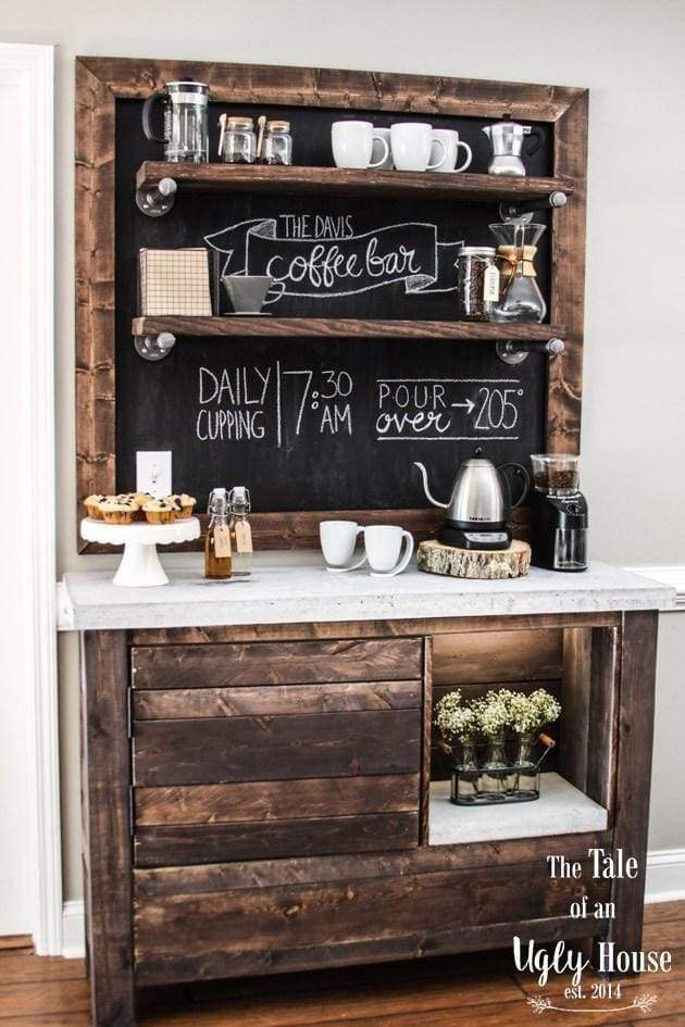 Check out this DIY coffee bar build complete with photos and instructions