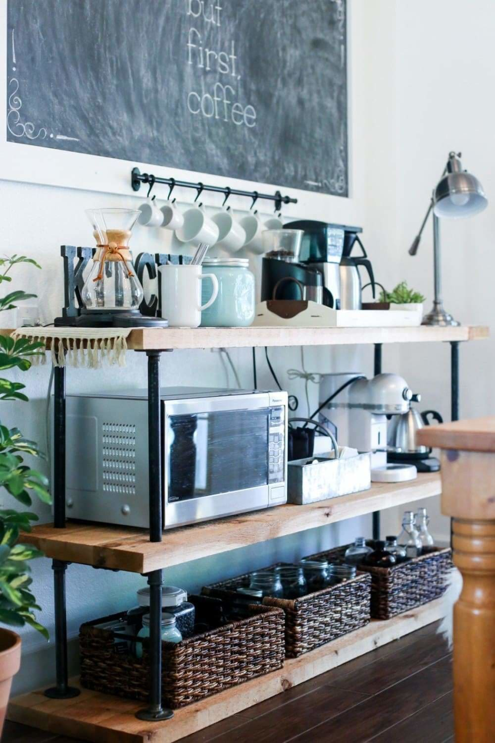 Black pipe is farmhouse design is popular and this DIY coffee station is great