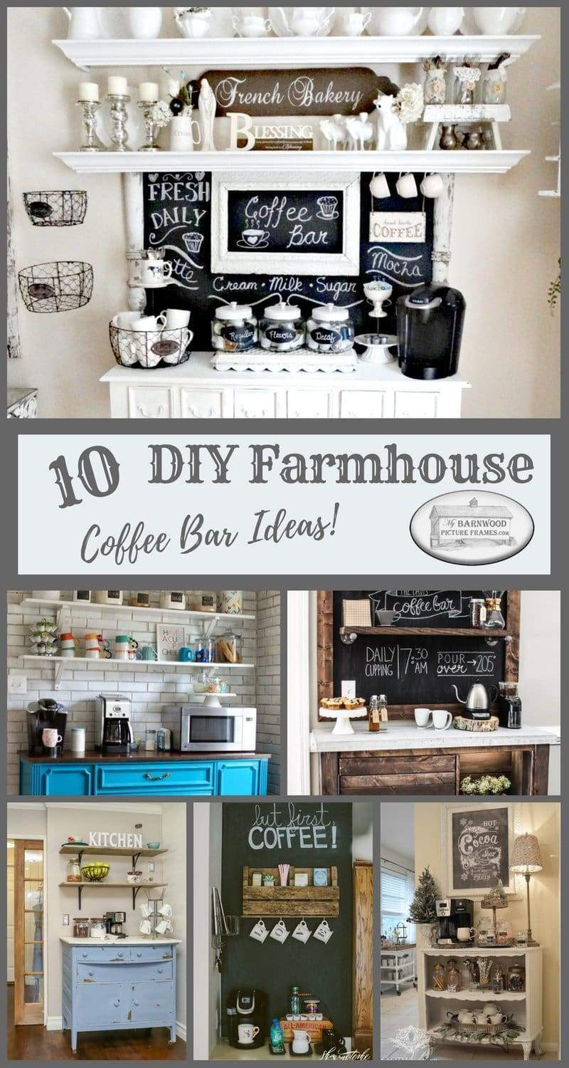 Check out these 10 best DIY farmhouse coffee bar ideas. Find detailed instructions on how to build your own decorative rustic farmhouse coffee station.