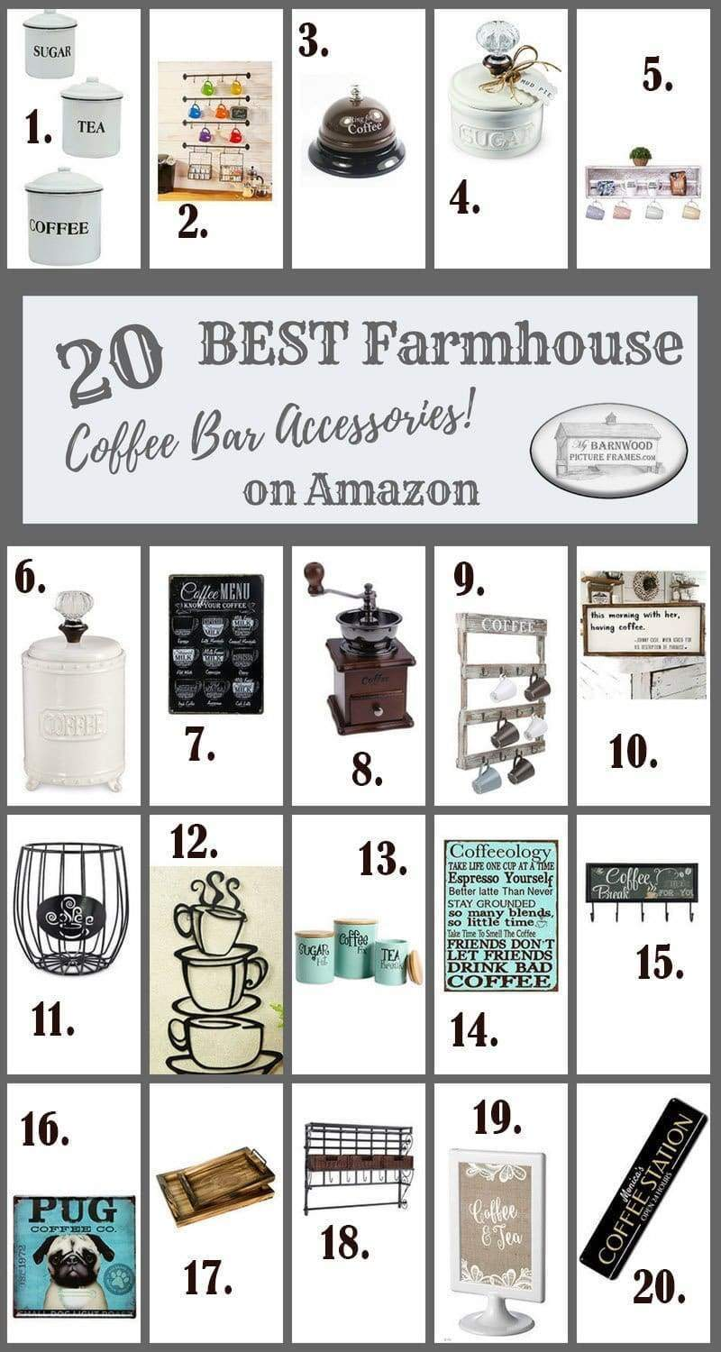 Check out these top 20 best farmhouse coffee bar accessories from Amazon and find out why they made our top 20 list. You can also learn about our 10 best DIY coffee bar build projects.