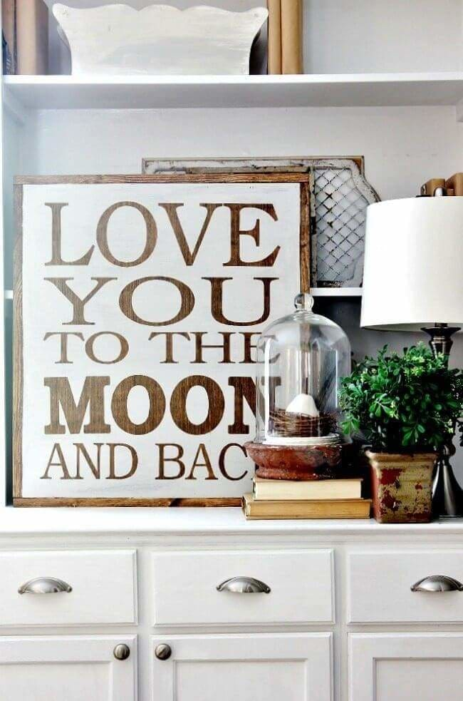 love you to the moon and back sign for kids room