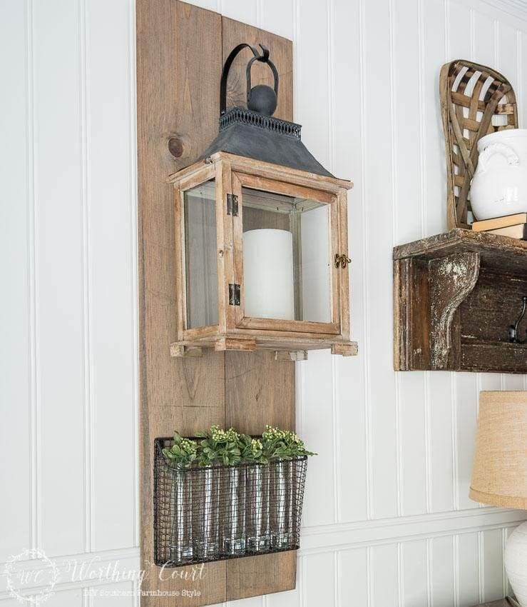 DIY wall hanging lantern for farmhouse decor