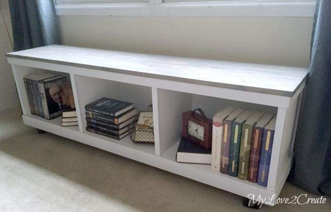 DIY project to convert a cheap laminate cabinet into cute farmhouse cubby bench