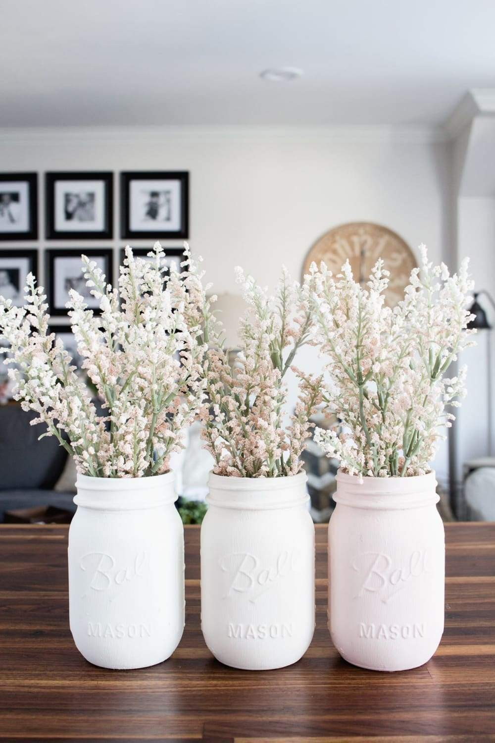 DIY pastel painted mason jar vases
