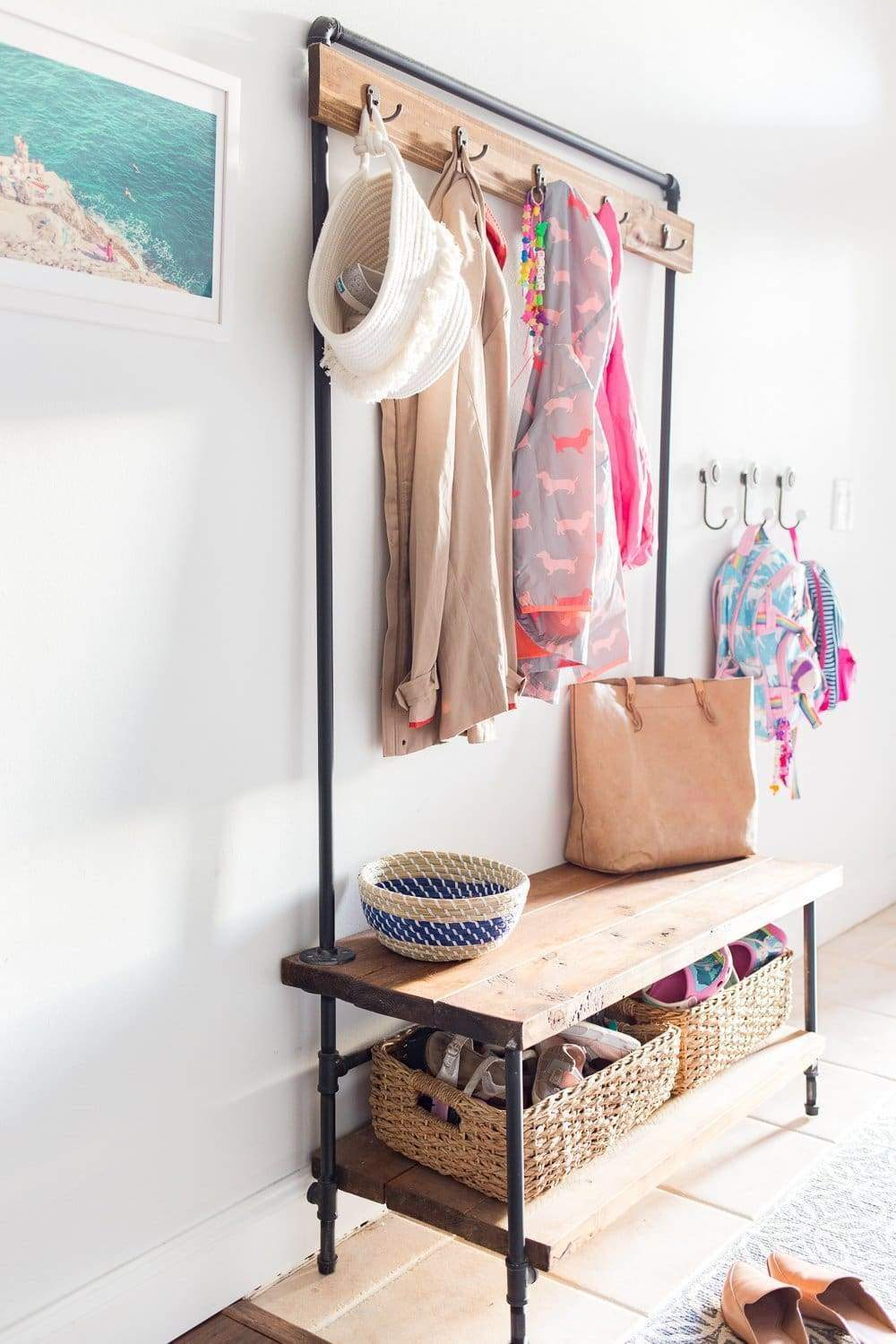 DIY wood and pipe entry way organizer