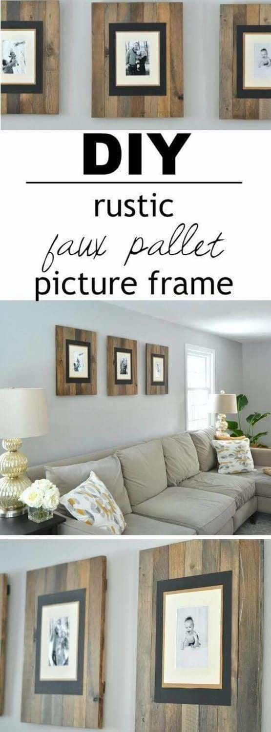 Pallet DIY projects are popular, and this rustic living room wall uses the idea to create a series of matching picture frames. Stain 1x3 lumber so it looks rustic and aged, learn how here. Use small cleats across the back to connect them. Then all you need to do is attach matte finish photos to the front of each pallet. Such a classy looking arrangement and you don't have to spend a lot to create it.
