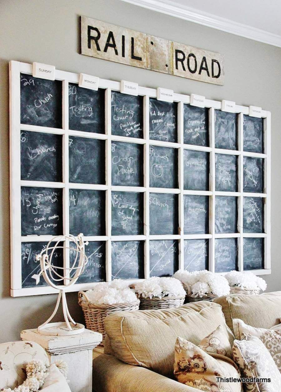 What a creative idea. By creating a window frame patterned wood frame the designer was able to create several small chalkboard spaces to be used as a family scheduling center. A way to bring the rustic schoolhouse look, into a modern farmhouse décor.