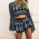 Megan Crop Shorts Set