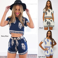 Boho Leaf Crop Shorts Set