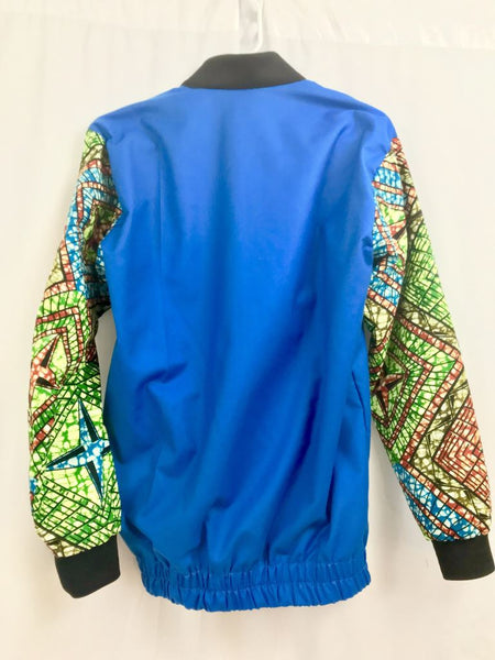 Blue Kitenge Bomber - Jackets And Coats
