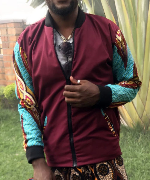 Maroon Kitenge Bomber - Jackets And Coats