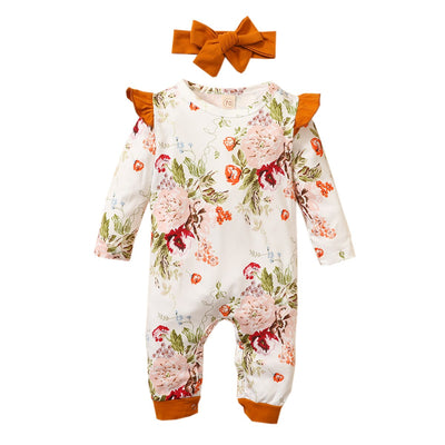 CLEMENCY Floral Jumpsuit with Headband