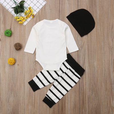'Little Brother' Striped Outfit with Beanie