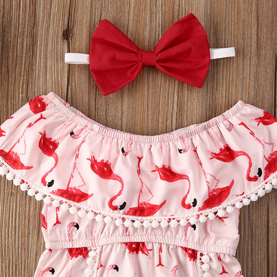 FLAMINGO Tassel Romper with Headband