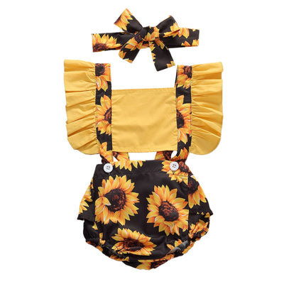 SUNFLOWER Overall Romper with Headband
