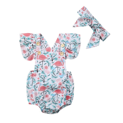 FLAMINGO Ruffle Sleeve Romper with Headband