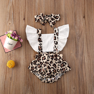 LEOPARD Overall Romper with Headband