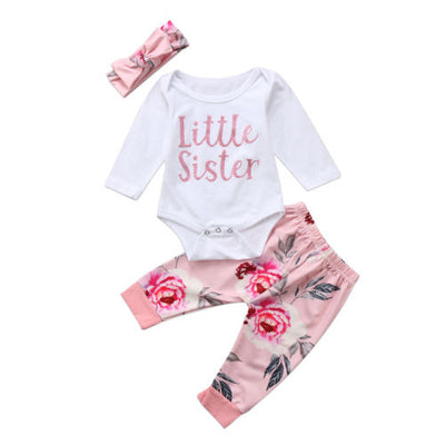 LITTLE SISTER Flower Outfit with Headband
