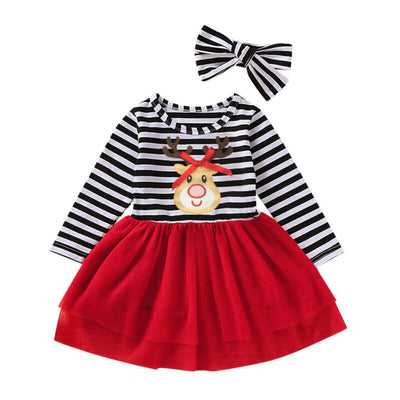 REINDEER Striped Dress with Headband