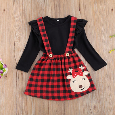 CUPID Checkered Skirt Overall Outfit