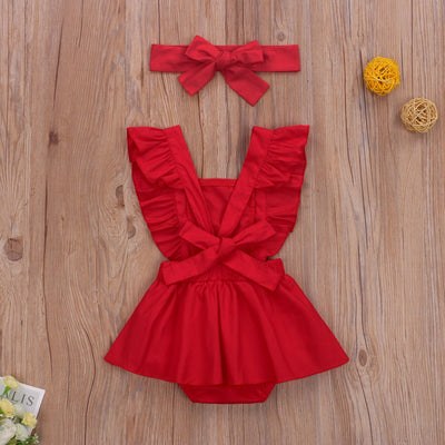 RUBY RED Lace Outfit with Headband
