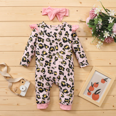 PINK LEOPARD Jumpsuit with Headband