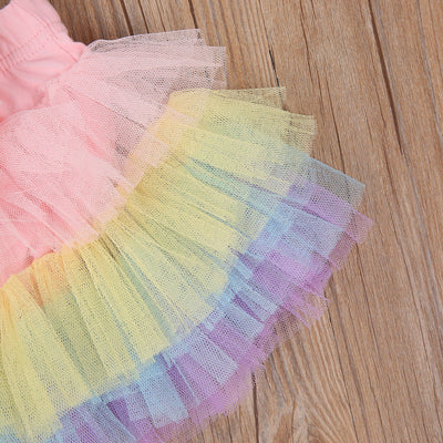 RAINBOW Tutu with Flower Headband