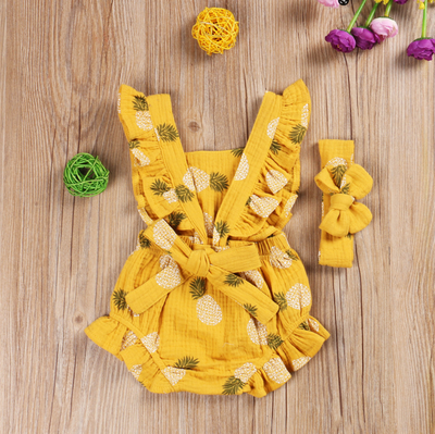 PINEAPPLE Ruffle Romper with Headband