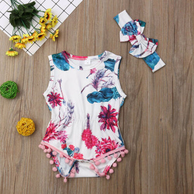 NOVA Floral Tassel Romper with Headband