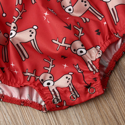 REINDEER Red Romper with Headband