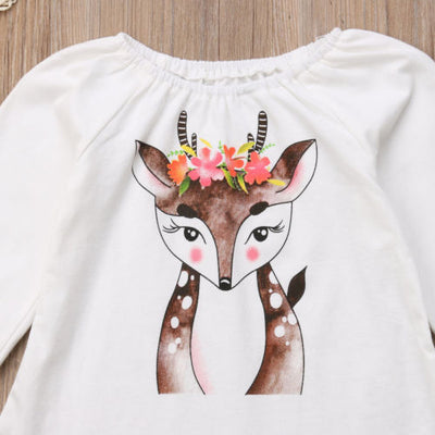 EVERLY Deer Shirt and Skirt Set