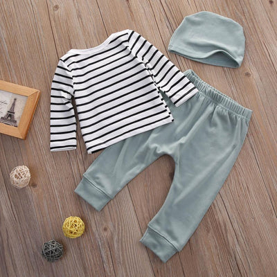 3 Piece Casual Striped Outfit