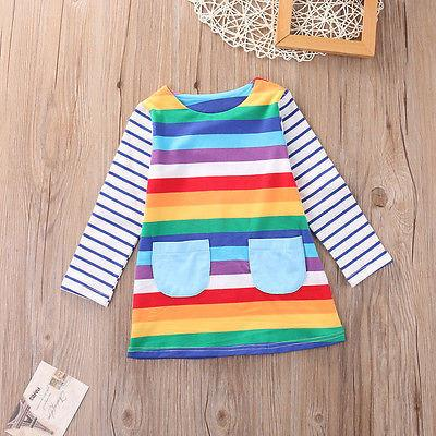 'Rainbow' Long Sleeve Dress