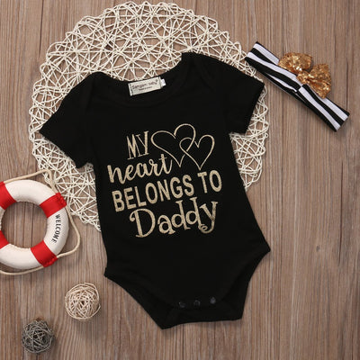 'My heart belongs to Daddy' Onesie with Headband