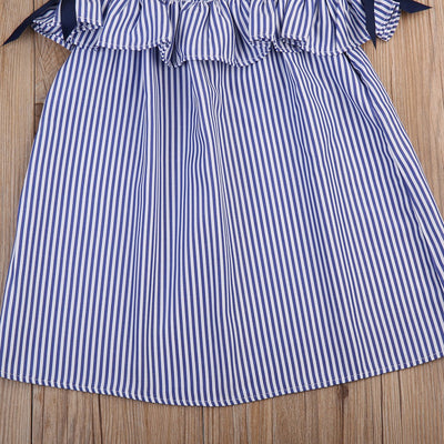 Blue Striped Dress with Headband