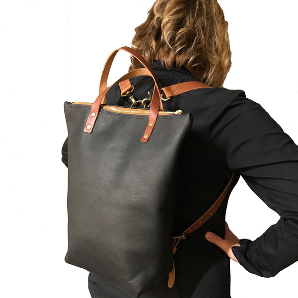 Kodiac Backpack-Tote in Black - Leather Pasture
