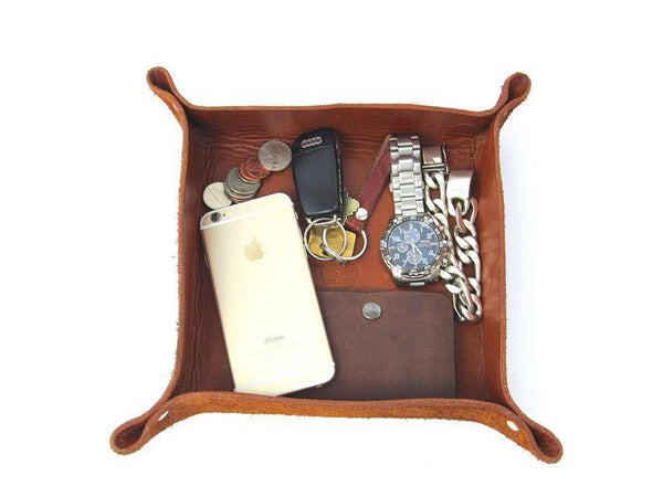 leather-pasture - Leather Valet Catchall Tray - leather pasture -