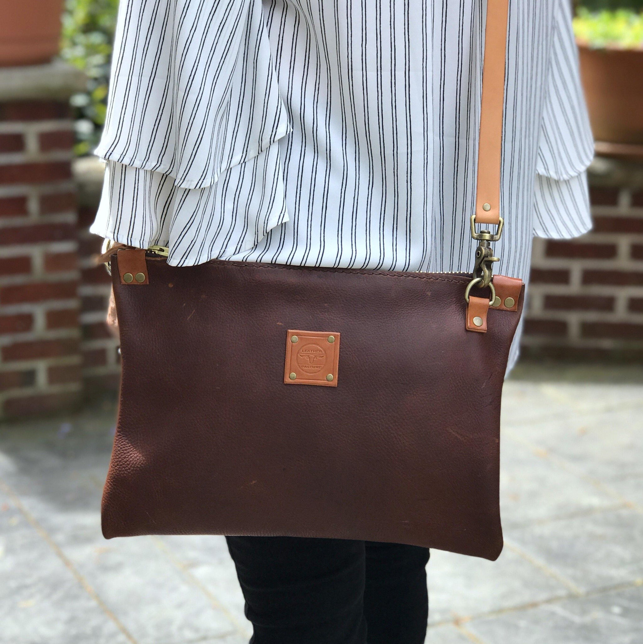 leather-pasture - Full Grain Oiled Tanned Leather Messenger Bag - leather pasture -