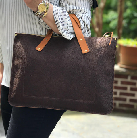 Brown Leather Laptop Bag - Leather Pasture
