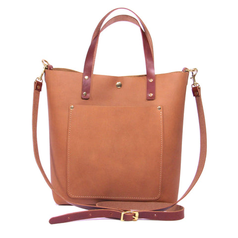 Crossbody Tote in Honey - Leather Pasture