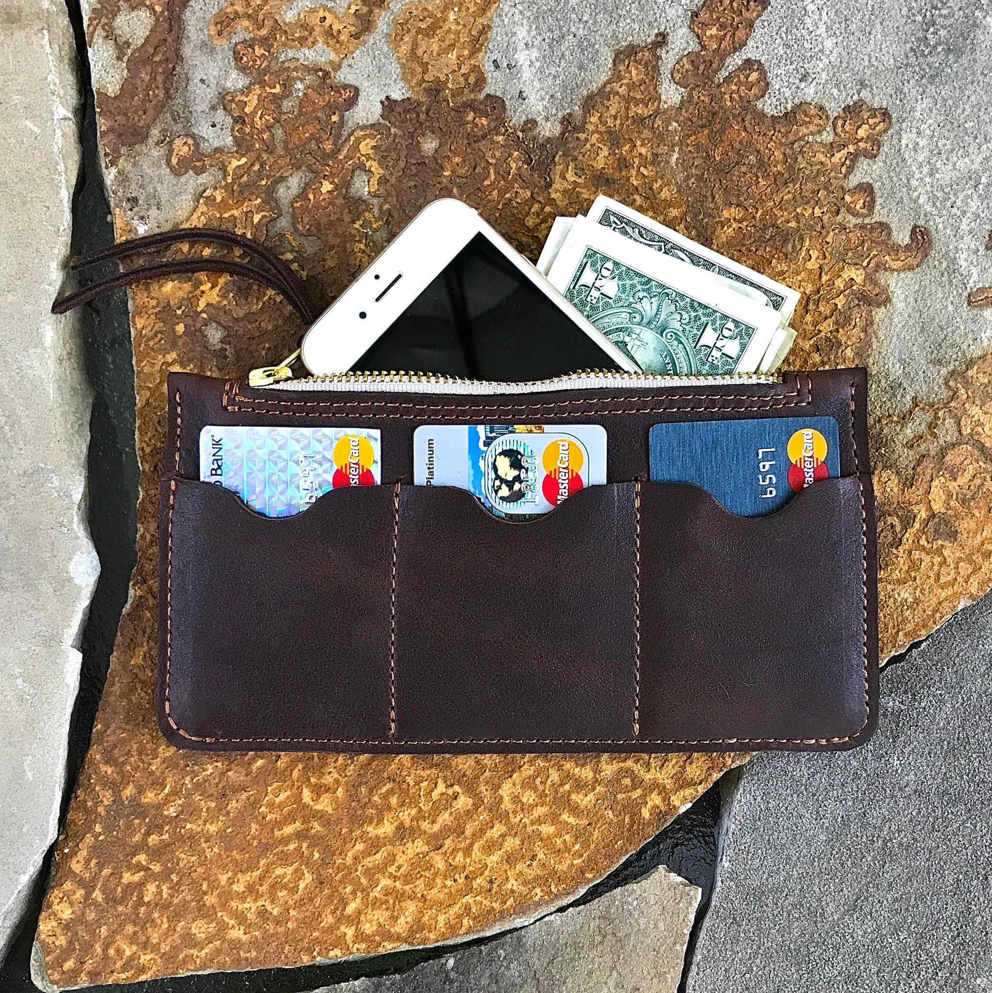 Brown Zip Top Wallet - Leather Pasture
